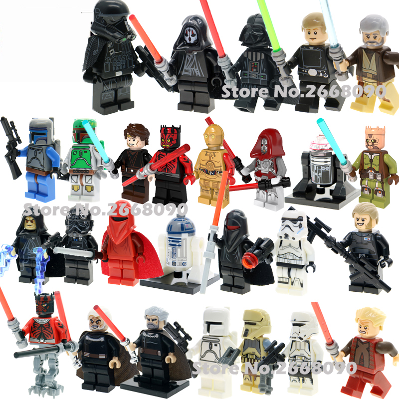 Single Sale Star Wars Darth Vader Jedi Knight C-3Po R2D2 Luke Skywalker With Lightsaber Figures Building Blocks Children Toy