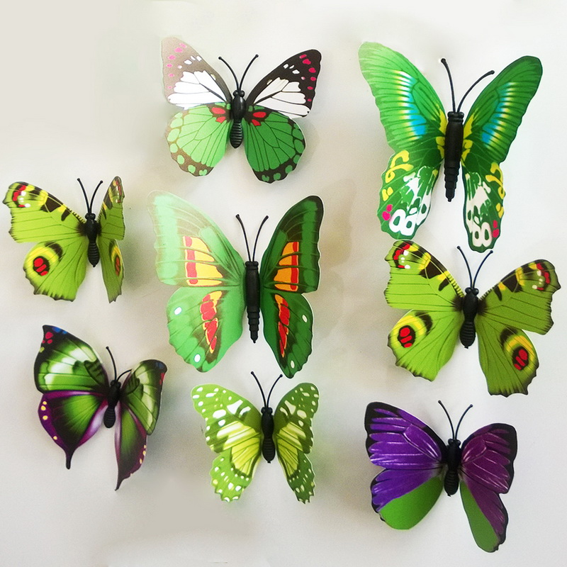 2015 New Gossip Girl Same Style 12pcs 3D Butterfly Wall Stickers Butterflies Decors For Home Fridage Decoration