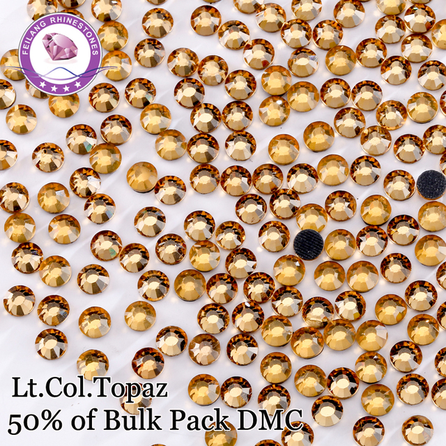 DMC Lt.Col.Topaz 50% Crystal Yellow Hotfix Rhinestones For Clothing Iron On Accessories DIY Decoration Strass Stones
