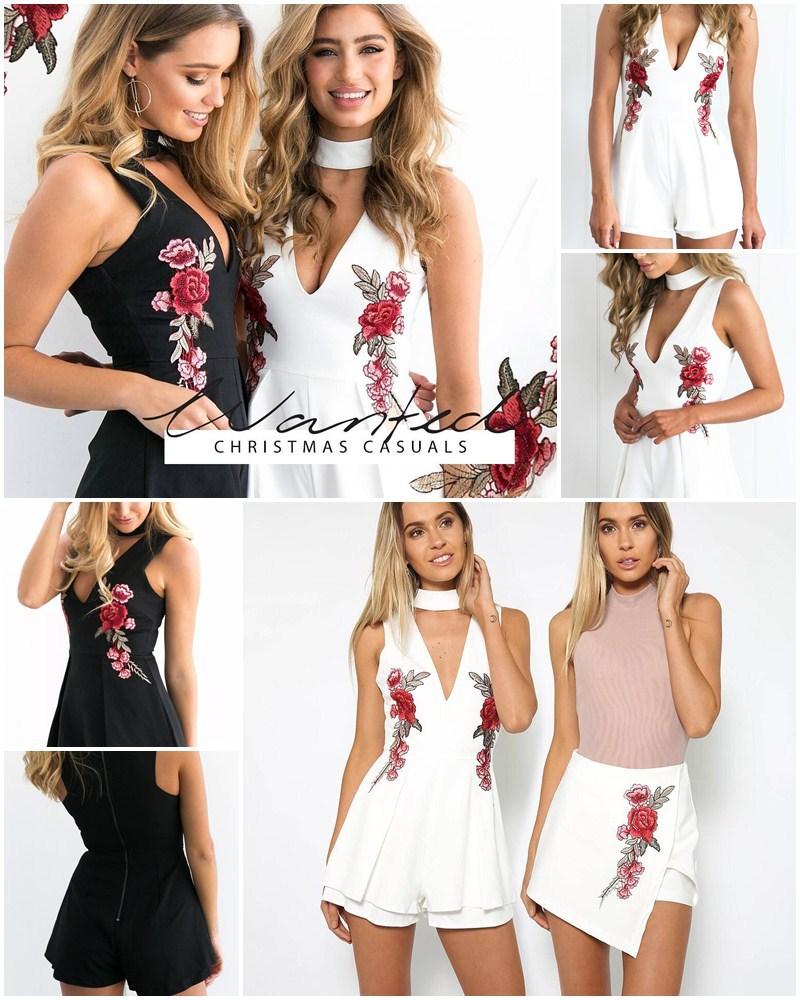 HTB1zrCwQFXXXXbfapXXq6xXFXXX3 - FREE SHIPPING Rose Embroidery V-neck Bodysuit Romper White JKP314