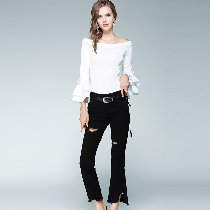 Jeans woman 2018 Spring torn jeans for women slim black flare jeans vaqueros mujer Free Shipping