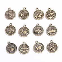 Vintage Small Metal 12 Constellations Charms Classic Handmade DIY Fashion Accessories Zodiac Pendant for Jewelry 48pieces/lot