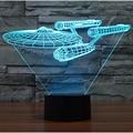 Star Wars 3D Visual Acrílico Lâmpada LED Night Light para Crianças Star Trek navio de Guerra de Toque USB lâmpada de Mesa Lampara para Crianças 7 Cores mudando