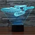 Star Wars 3D Visual de Acrílico LLEVÓ La Lámpara de Luz de Noche para Niños Buque de Guerra de Star Trek Táctil USB Lampara de Mesa para Los Niños 7 Colores cambiando