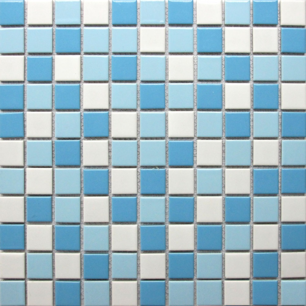 Azulejos De La Piscina De Mosaicos De Cer Mica Blanco Azul