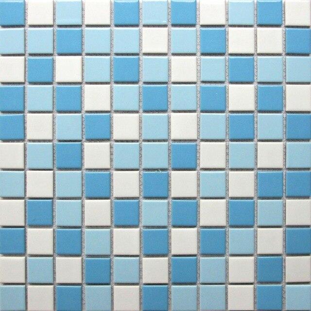 Azulejos de la piscina de mosaicos de cerámica blanco azul baño ...