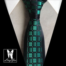 Lingyao 2017 Unique Designer Ties Fashion Skinny Necktie Black with Green Checkers Silver Dots