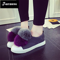 2017 Hair Ball Rabbit Hair Fight Color Low To Help Tie Korean Version Of A Pedal Flat Shoes Students Casual Shoes QIYHONG Brand