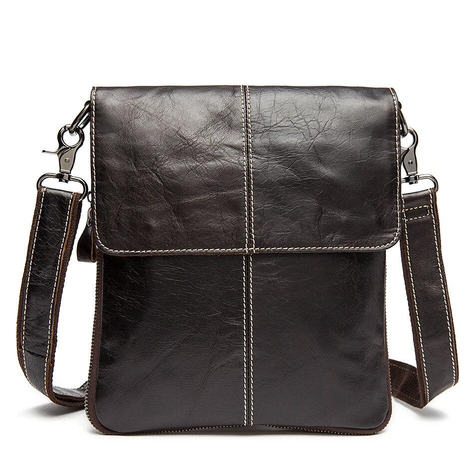 Genuine Leather Vertical Section Men's Shoulder Bag Zipper Hard Car Suture Men's Bags Brand Private Custom Ipad Computer Pack8M2