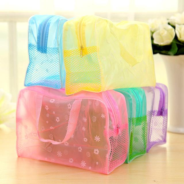 5 Colors Make Up Organizer Bag Toiletry Bathing Storage Bag women waterproof Transparent Floral PVC Travel cosmetic bag