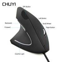 Lado esquerdo do Mouse Vertical Ergonômico Wired Gaming Mouse Óptico USB 1600 DPI Mause Ratos Saudáveis de Pulso Com Mousepad Para PC computador
