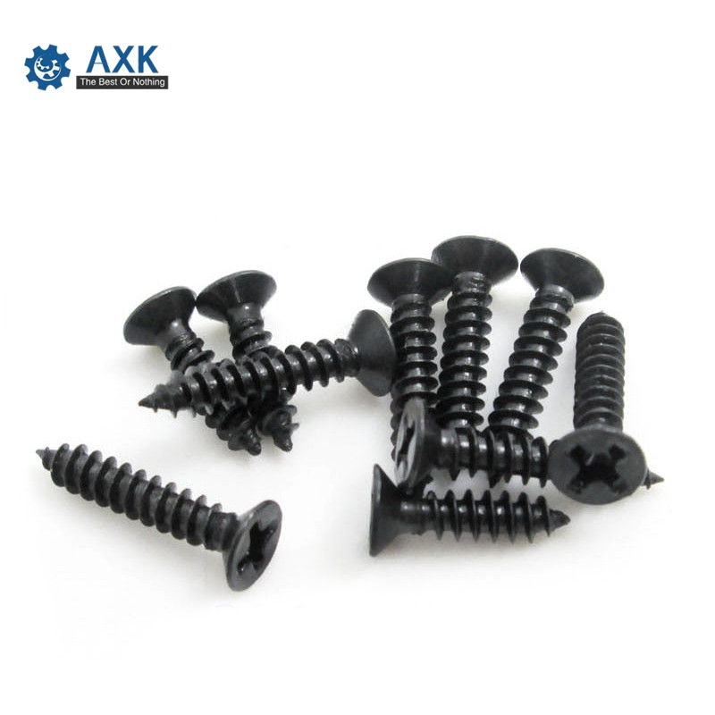 100Pcs M1 M1.2 M1.4 M1.7 M2 M2.3 <font><b>M2.6</b></font> DIN7982 KA Black Self-tapping <font><b>Screws</b></font> Countersunk Flat Head Electronic Small <font><b>Screws</b></font> SS12 image