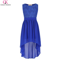 Children Kids Girls Sleeveless Crew Neck High Low Lace Contrast Chiffon Splicing Dress For Wedding Party