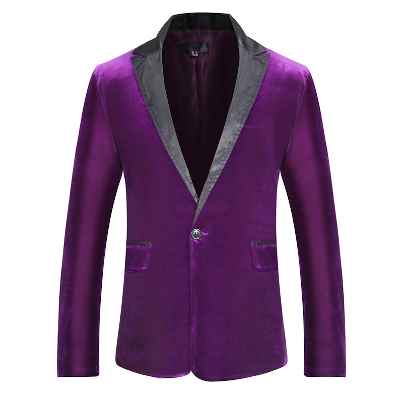 Suede suit jacket new multi-color into the stitching men's wild simple single-breasted autumn winter small suit jacket purple re