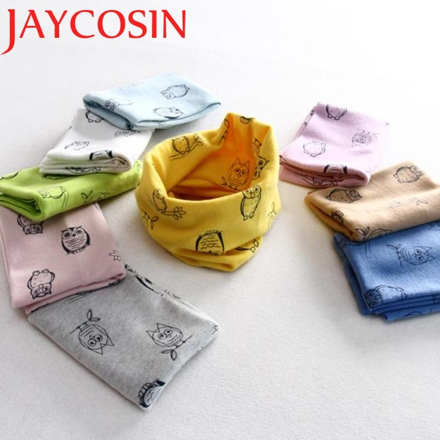 JAYCOSIN Autumn Winter Boys Girls Owl Print Collar Baby Scarf Cotton O Ring Neck Scarves Drop Shipping