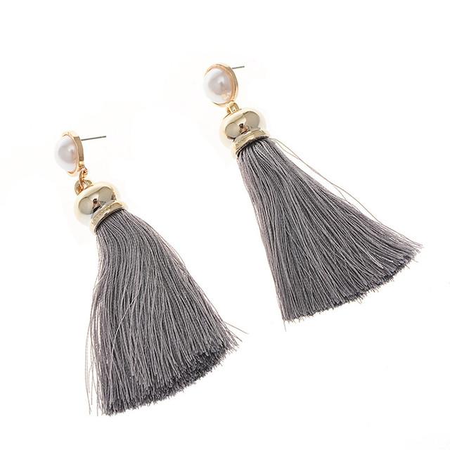 Long Silk Tassel Earrings