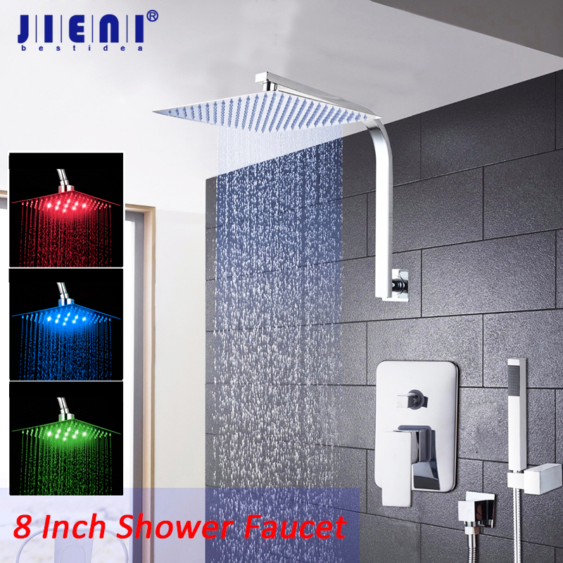 JIENI 8 10 12 16 Inch LED Rainfall Bathroom Shower Kit Hand Shower Head Wall Mount