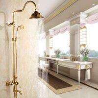 Set 3 Features Gilded Rainshower Shower Head Copper Bathroom Faucets