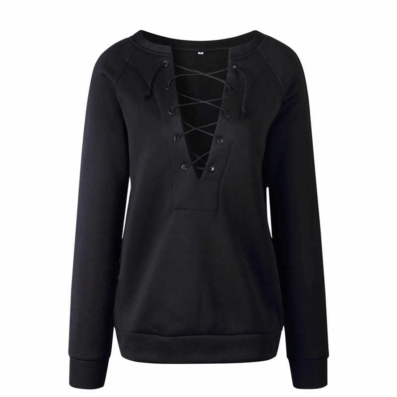 2019 Sexy Womens Clothing Long Sleeve Lace Up Bandage Casual Pullover Ladies Loose Blouse Jumper Tops Shirt Ladies Fashion
