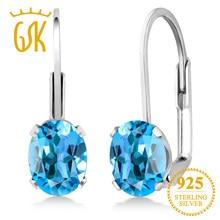 90b39223e1002c GemStoneKing 1.60 Ct Oval Natural Blue Topaz Gemstone Leverback Earrings  925 Sterling Silver Fine Jewelry For Women
