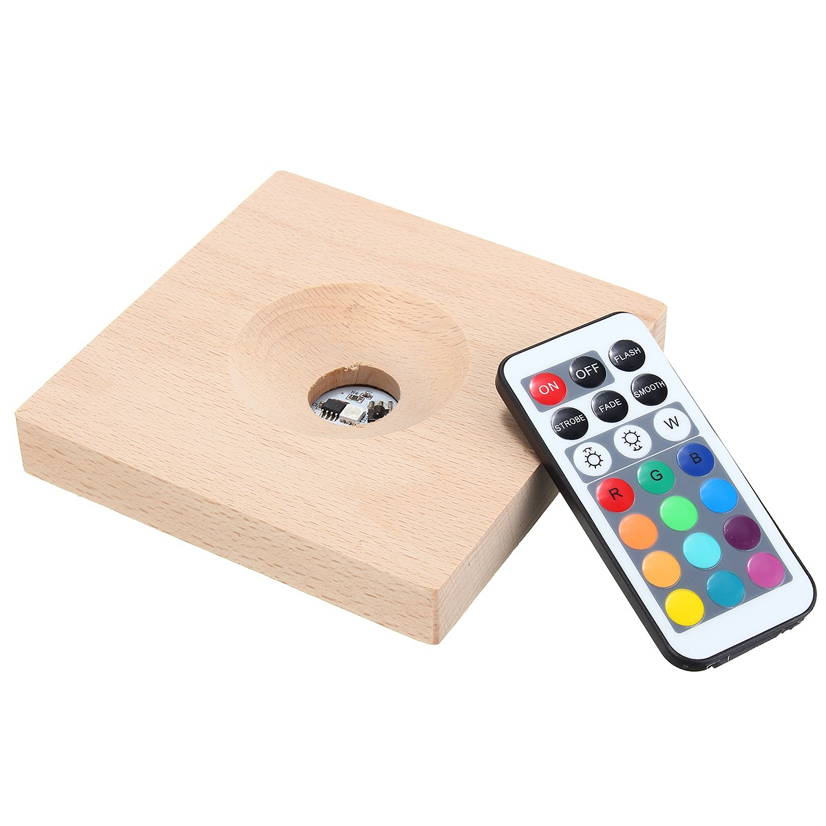 Multicolor RGB LED Night Light Lamp Light Emitting Socket Lamp Base Holder Solid Wood Lamp Holder With Remote Control DC3V 2017 hot led display space isolator recharge base remote control uv lamp vacuum cleaners