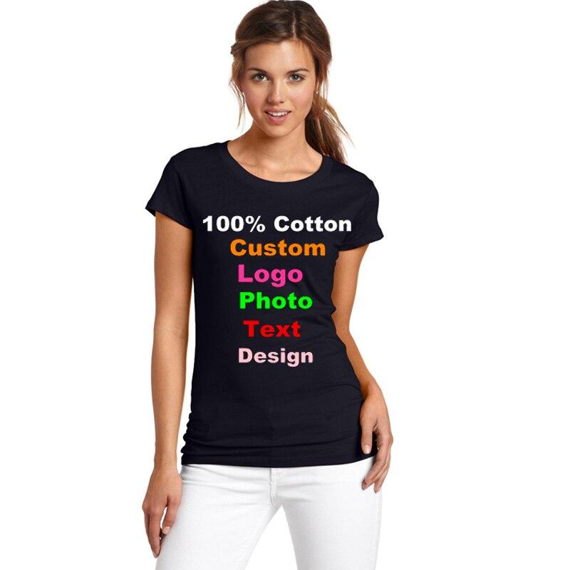 Equipe Foto Logotipo Personalizado publicidade Impressa Algodão Mulheres T shirt T-shirt Femme Harajuku 2018 T-shirt Senhora de Manga Curta Tops de Verão