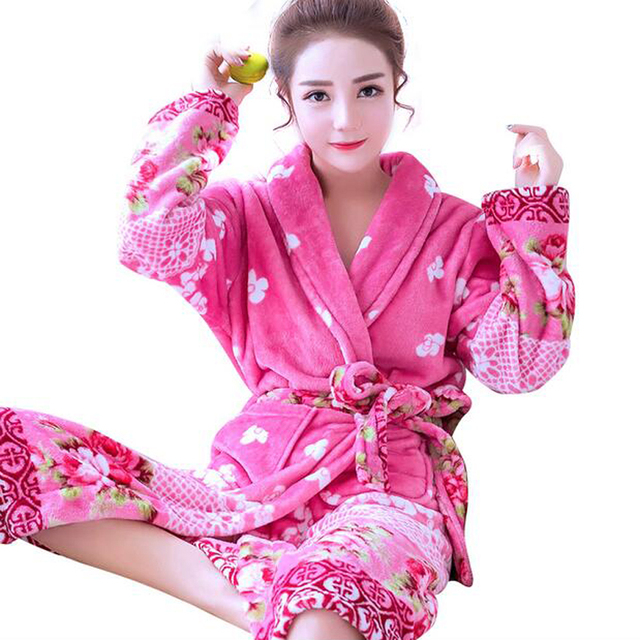 Winter Thick Warm Women Bathrobe Nightwear Floral Robes Kimono Night Robe  Bath Robe Fashion Dressing Gown 554d8e121