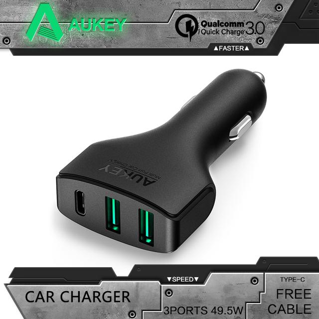 Aukey qc3.0 carregador rápido 3.0 carregador de 3 portas usb carregador de carro para o iphone 7 plus samsung galaxy s6 edge note 5 nokia & mais telefones