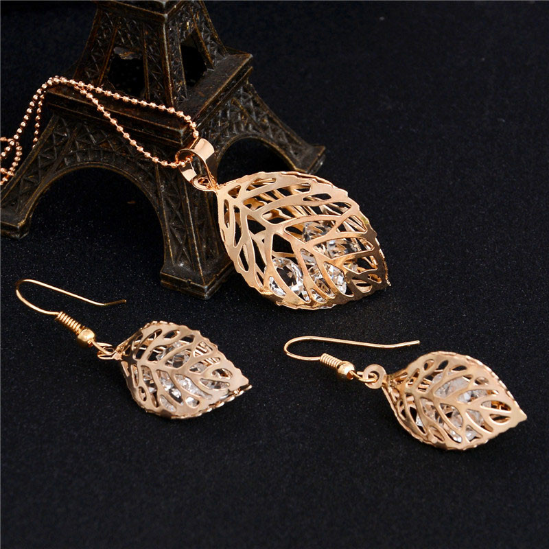 H:HYDE 1SET Fashion Womens Gold Color Classic Hollow Leaf Austria Crystal Necklace Earrings Wedding Jewelry Sets Wholesale 9