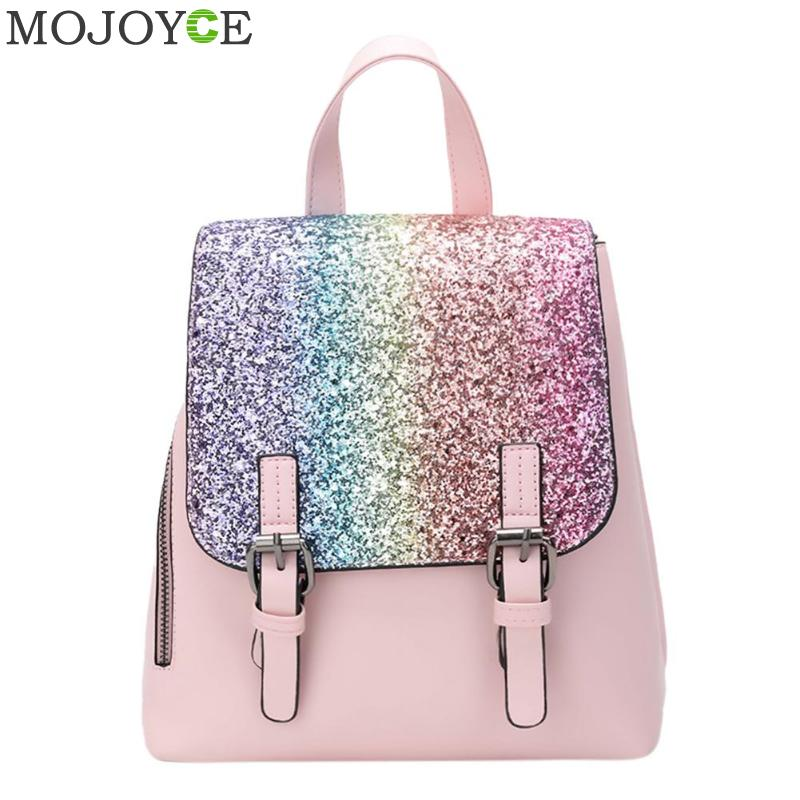572ec3f83a50 PU Leather Women Backpack 2019 Fashion Backpack Sequins Small Backpacks for  Girls Travel School Bag Female