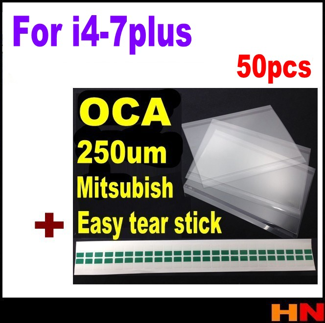 imágenes para 50 unids 250um oca adhesivo transparente óptico para iphone 5 5s 5c 4 4s 6 6 s 7 plus oca glue touch lente de cristal película con lágrima fácil palo