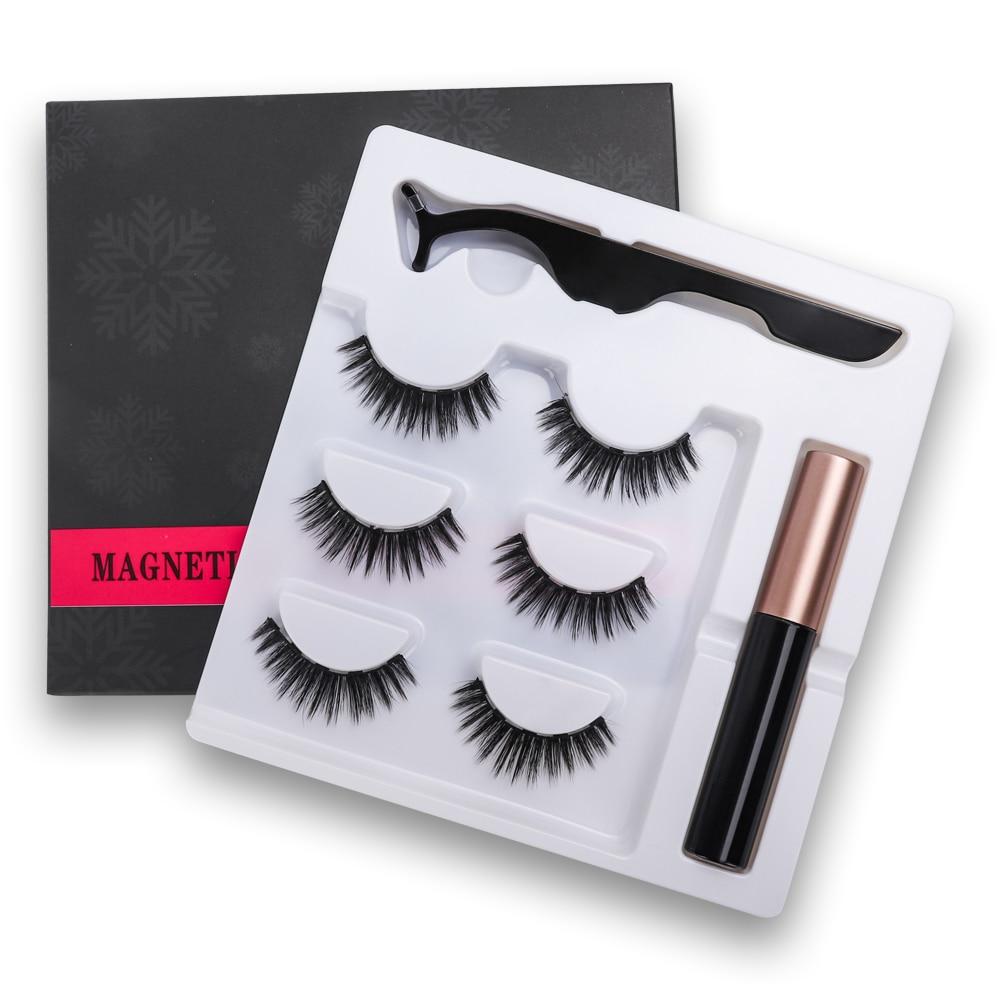 New Magnetic Fake Eyelashes Magnetic Liquid Eyeliner Natural Long 5 Magnet False Eyelashes With Tweezer set for Girl Women Gift 1