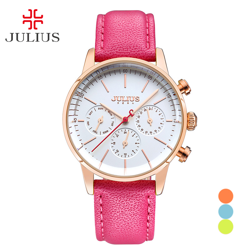 Real Functions JULIUS Women's Watch Japan Quartz Hours Fashion Clock Bracelet Sport Leather Auto Date Birthday Girl Gift 862 real functions julius shell women s watch isa mov t hours clock fine fashion bracelet woman sport leather birthday girl gift box