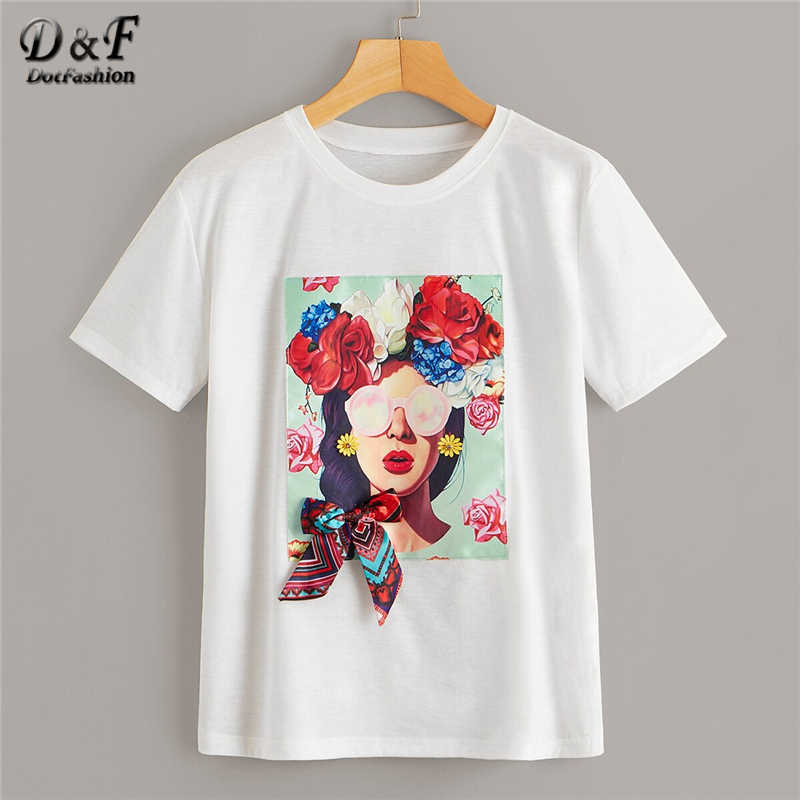 Dotfashion White Figure Print Bow Tee Summer Tops For Women 2019 Casual Short Sleeve Fashion Clothes Ladies Young T-Shirt