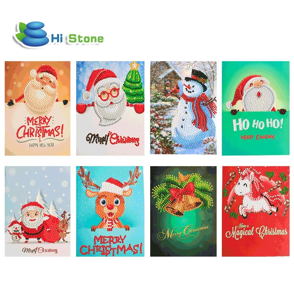 Greet Cards 5D DIY Diamond Painting Cartoon Mini Santa Claus Merry Christmas Paper Greeting Postcards Craft Kids Festival Gifts