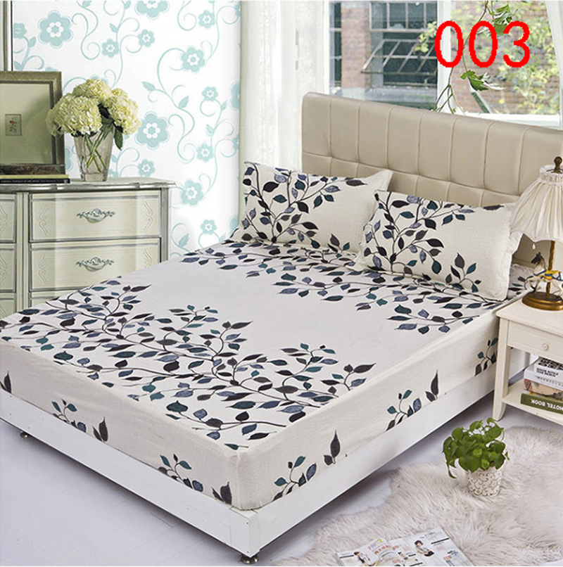 Leaves Polyester Fitted Sheet Single Double Bed Sheets Fitted Cover