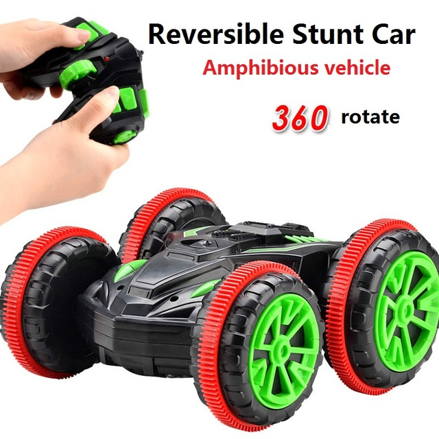 Ewellsold Rc Car Amphibious Vehicle Double-Sided Stunt Car 1/18 Scale 360 degree Rotate Model 2.4Ghz 4WD Remote Control Car
