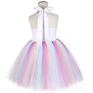 Image 4 - Pastelowe cekiny dziewczęce jednorożec Tutu sukienka zestaw księżniczka kwiaty sukienka dziewczęca na przyjęcie urodzinowe dzieci Halloween kostium jednorożca
