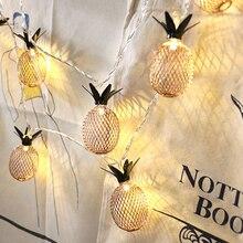 Luces de noche de piña de hierro Vintage 10 Leds 20 Leds Cadena de lámpara 1,5 M 3M EU 220 V/alimentado por batería romántica boda decoración del hogar