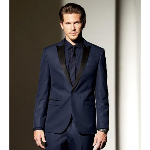 Navy Blue With Black Lapel One Button Groom Men Suit Tuxedos Groomsmen Mens  Wedding Prom Suits Bridegroom (Jacket+Pants+Tie) 2f27da045ac7