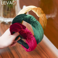 Levao Solid Color Fashion Ladies Hair Band Middle Cross Knotted Head Band Girls Gold Silk Suede Simple Hair Accessories(China)