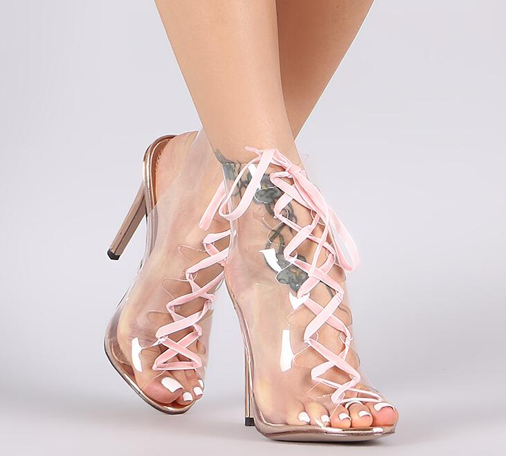 Summer Fashion Transparent PVC Boots Sexy Peep Toe Ladies Lace Up Boots Pink Shoelace Women High Heel Boots Sexy Party Shoes glitter silver stars patchwork women sexy transparent pvc boots fashion peep toe ladies square heel ankle boots zipper back boot