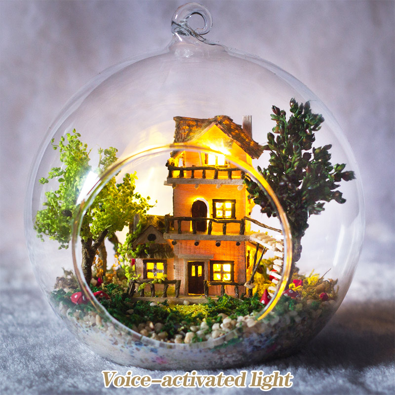 DIY Romantic Glass House 3D Miniature Assemble Mini Norwegian Tree House Building Dollhouse with Funitures Toys Birthday Gifts image
