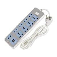 2USB & 4-Outlet AC Power Adapter Taśmy 2 M Kabel USB Ściany gniazda z Przełącznikiem UE/US/UK Wtyk Rozszerzenie taśmy do kamery telefonu domu