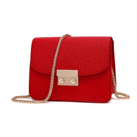 Fashion 2016 Candy Color Fashion All Match Bucket Bag Pu Leather Plaid Chain One Shoulder