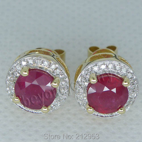 New Fashion Red Ruby Stub Earrings Solid 14kt Yellow Gold Vintage Round 6 5mm Blood