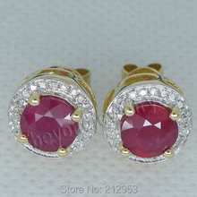 New Fashion  Red Ruby Stub Earrings Solid 14Kt Yellow Gold Vintage Round 6.5mm  Blood Red Ruby Earrings ESR006