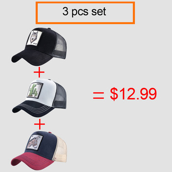 Embroidery Baseball Caps Men Women Snapback Summer Breathable Mesh Hat 3 Pcs Set Farm Animal Plant Sets Streetwear Hip Hop Hats 2