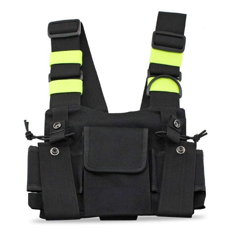 Bright Green Radio Chest Harness Chest Front Pack Pouch Holster Vest Rig Carry Case For Two Way Radio Walkie Talkie