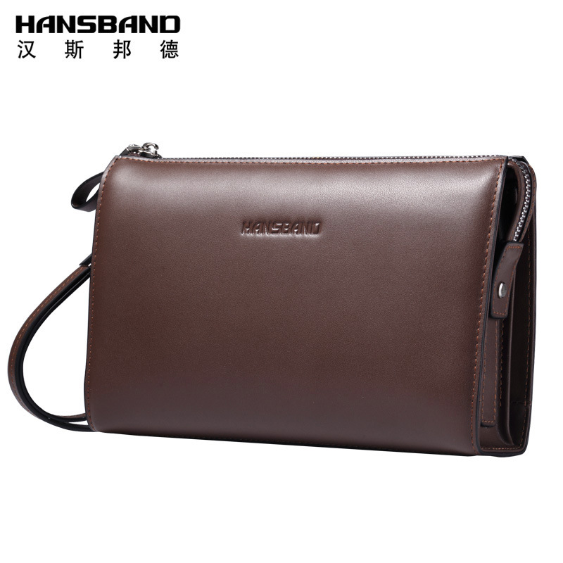 HansBand Luxury Brand Men Clutch Wallet Genuine Leather Hand Bag Classic Multifunction Mens High Capacity Clutch Bags Purses